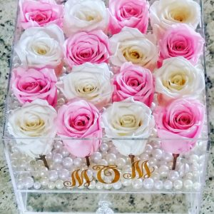16 real roses in acrylic box